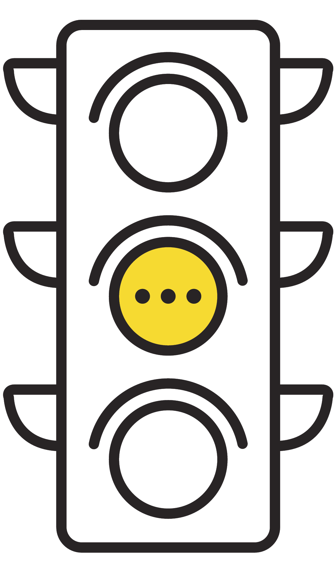 Traffic light interface icons. Red, yellow and green (yes, no and standby). Thin line vector buttons.
